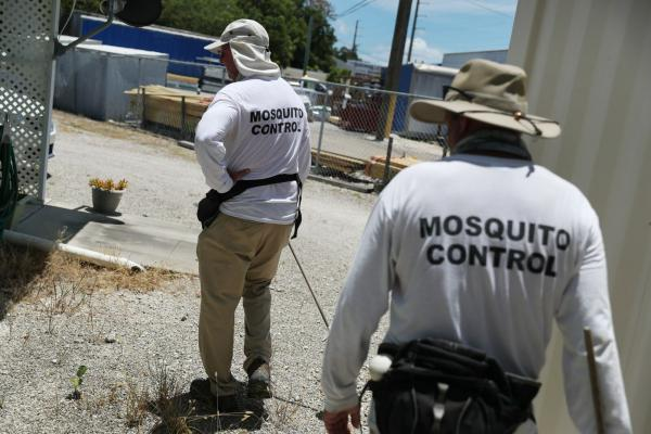 Billy Ryan and Meredith Kruse (L-R) with the Florida Keys mosquito control department inspect a neighborhood for any mosquitos or areas where they can breed as the county works to eradicate mosquitos carrying dengue fever  in Key Largo, Florida.