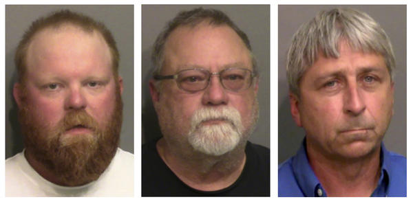 """Travis McMichael (from left), his father, Gregory McMichael, and William """"Roddie"""" Bryan face federal hate crime charges in the death of Ahmaud Arbery, a Georgia man who was killed while out for a run last year."""