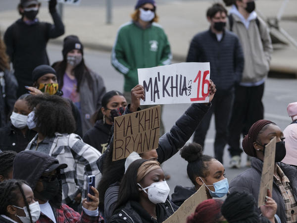Students and demonstrators march on the campus of The Ohio State University in Columbus, Ohio last week to protest the killing of Ma'Khia Bryant, 16, by a Columbus police officer.