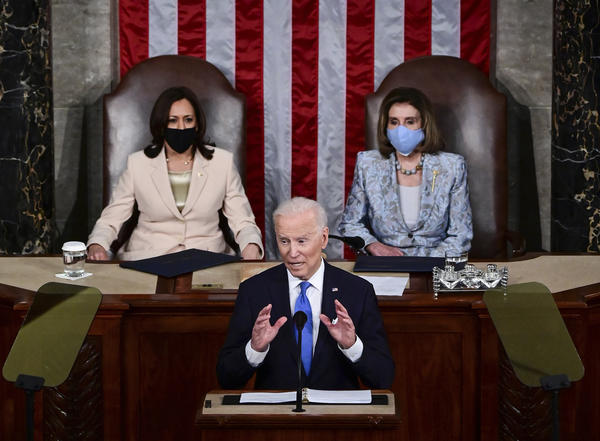President Biden addresses a joint session of Congress. Biden made the pitch for a larger federal role in American society and marked history in the House chamber with two top women: Vice President Harris and House Speaker Nancy Pelosi.