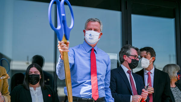 """We are ready for stores to open, for businesses to open,"" New York City Mayor Bill de Blasio said on Thursday, as he announced a plan to reopen his city on July 1. The mayor cut the ceremonial ribbon on a high-tech manufacturing hub in Brooklyn on Wednesday."