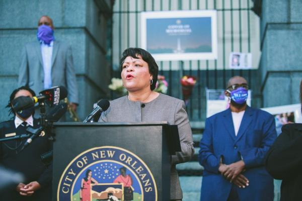 Mayor LaToya Cantrell speaks at a COVID-19 memorial event. Jan. 19, 2021.