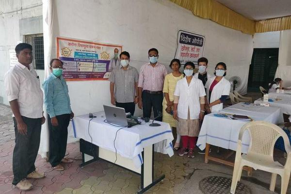 Dr. Shiv Joshi (third from left) with colleagues at the fever clinic where he is a junior doctor in Sevagram, India. Junior doctors are the equivalent of medical residents in the U.S. health system.