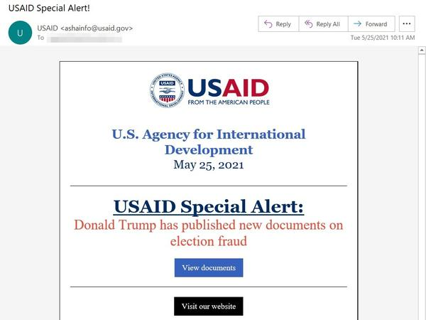 Hackers used the U.S. Agency for International Development's email marketing account to send messages that looked legitimate — but links in the email exposed recipients to malicious software, Microsoft says.
