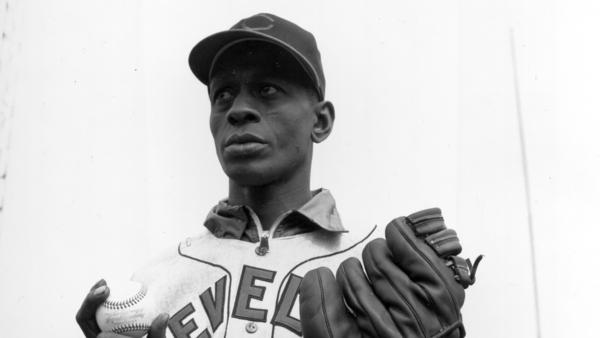 Satchel Paige is shown during a World Series game against the Boston Braves in Boston on Oct. 6, 1948. Paige and Larry Doby were two Black players who helped Cleveland's baseball team win the World Series.