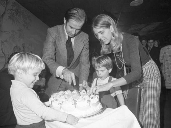 Then Sen.-elect Joe Biden and his first wife, Neilia, cut his 30th-birthday cake at a party in Wilmington, Del., in 1972 as their sons, Beau (left) and Hunter, look on. Neilia and their daughter, Naomi, died in a car crash that year. Beau and Hunter were seriously injured but survived.