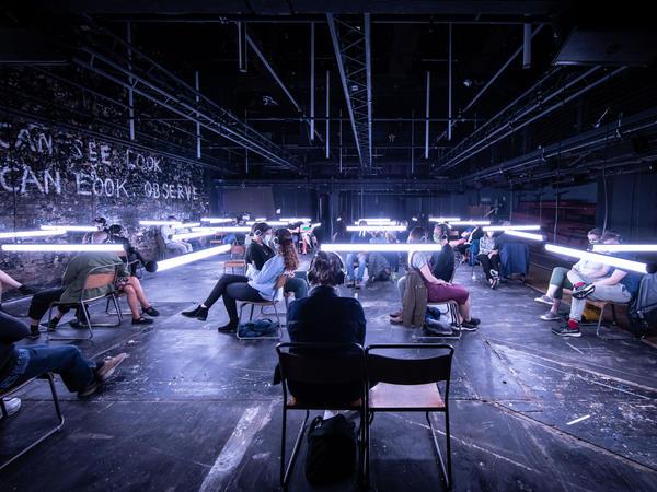 <em>Blindness</em> is a sound and light show based on a book by José Saramago.