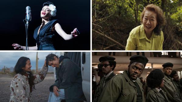 Clockwise from top left: Andra Day in <em>The</em> <em>United States vs. Billie Holiday, </em>Yuh-Jung Youn in<em> Minari, </em>Daniel Kaluuya in<em> Judas and the Black Messiah, </em>and<em> Nomadland </em>director Chloé Zhao with Frances McDormand.