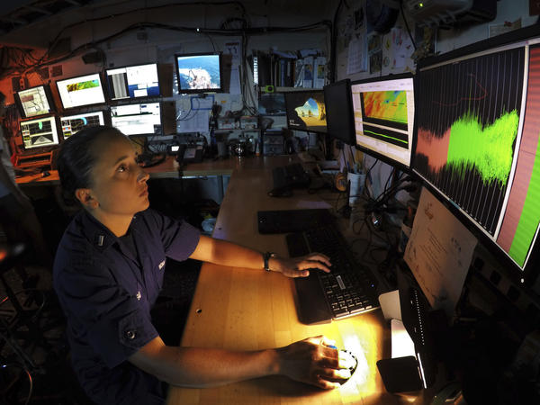 Federal scientists, engineers and other technical workers provide crucial climate and health expertise. Here, Marybeth Head, the vessel operations coordinator for the Gray's Reef National Marine Sanctuary, works aboard the NOAA research ship Nancy Foster in 2019.