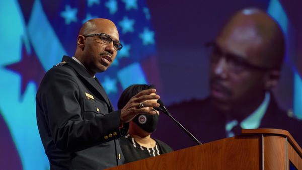 Washington, D.C., Police Chief Robert Contee addresses reporters in January. The police department has acknowledged that its computer network has been breached by attackers seeking a ransom. Such attacks against local governments, hospitals and corporations have been rising sharply.