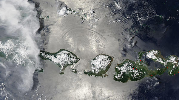 An image taken by NASA's Aqua satellite as it passes over Indonesia, captures evidence of an internal wave in the same general area where the KRI Nanggala submarine disappeared earlier this month.
