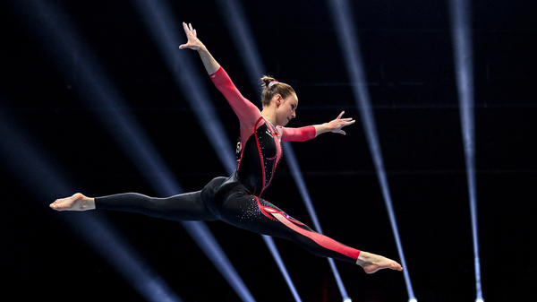 Germany's Sarah Voss competes in the women's beam qualifications during the European Artistic Gymnastics Championships in Basel, Switzerland, on April 21. She was one of three German female gymnasts at the European championships who grabbed headlines for wearing unitards rather than leotards.