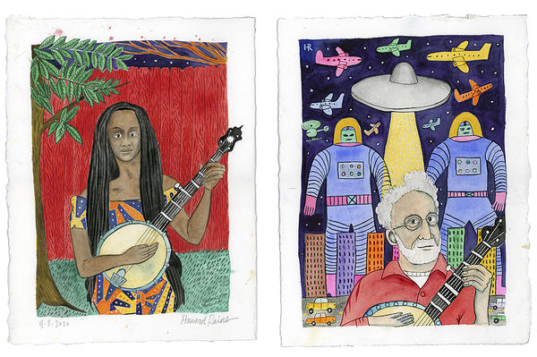 Rains is known for vivid watercolor portraits of musicians Banjo players Brandi Pace (from left) and Hank-Sapoznik inhabit starkly difference scenes.