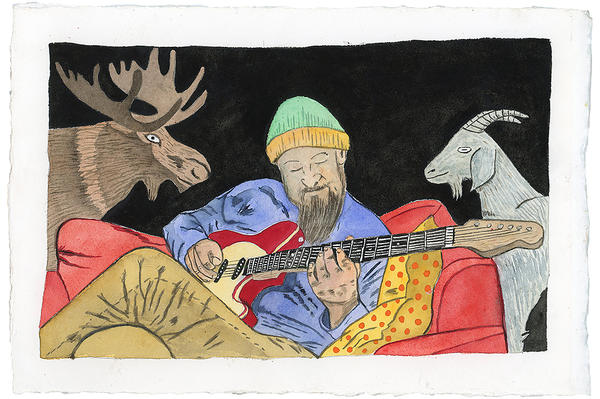 During lockdown, Rains painted a number of commissions like this one of Kansas City musician Clarke Wyatt strumming a guitar.