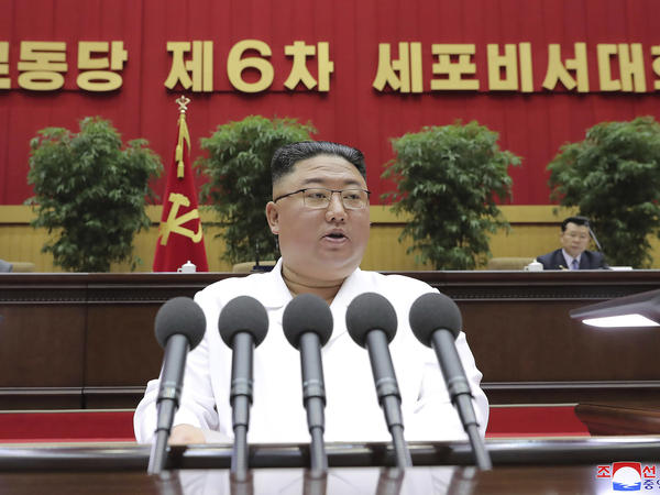 """North Korean leader Kim Jong Un delivers a speech in Pyongyang on April 8. On Sunday, the North Korean government said President Biden made a """"big blunder"""" last week when he called North Korea's and Iran's nuclear programs a security threat."""