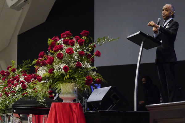 """At the funeral of Andrew Brown Jr., Rev. Al Sharpton gives his second eulogy in two weeks for a Black man killed by law enforcement. """"You've got to be subject to the law whether you've got on bluejeans or a blue uniform,"""" Sharpton said Monday."""