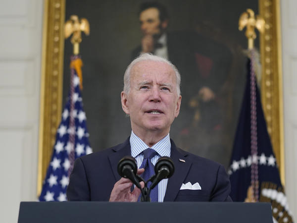 President Biden speaks about the COVID-19 vaccination program Tuesday in the White House. Biden has set a goal of seeing 160 million adults fully vaccinated by July Fourth.
