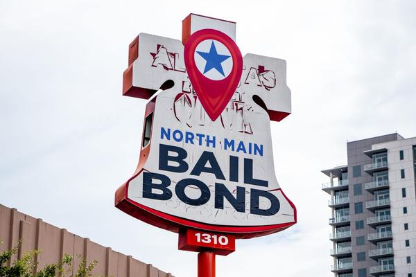 """Located near Minute Maid Park, """"North Main Bail Bond"""" is one of many locations of its kind in downtown Houston. Taken on Oct. 17, 2019."""
