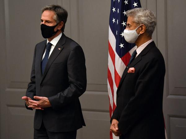 Secretary of State Antony Blinken attends a news conference with India's Foreign Minister Subrahmanyam Jaishankar following a bilateral meeting in London on Monday during the G-7 foreign ministers meeting.