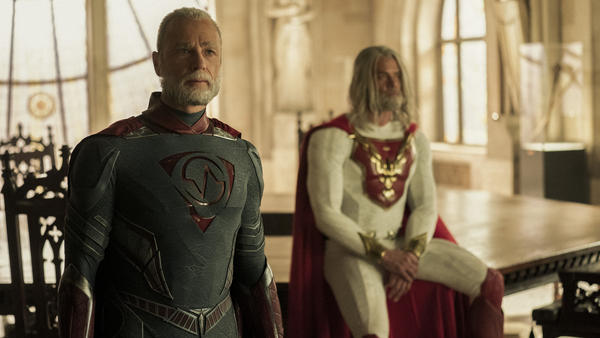 L to R: Walter/Brainwave (Ben Daniels) and Sheldon/The Utopian (Josh Duhamel) agree to table their discussion in Netflix's <em>Jupiter's Legacy</em>.
