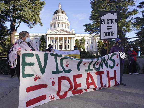 Protesters call for stronger eviction protections in January in Sacramento, Calif. A federal appeals court will now decide whether to scrap a federal eviction moratorium from the CDC. Housing groups say renters need more time to qualify for and get rental assistance money.