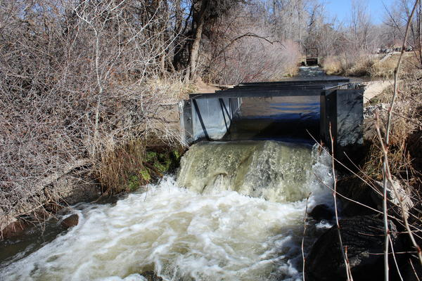 A Parshall flume measures the water in the Alfalfa Ditch, which diverts water from Surface Creek, near Cedaredge, Colo. The water is used to irrigate hayfields at nearby Harts Basin Ranch.