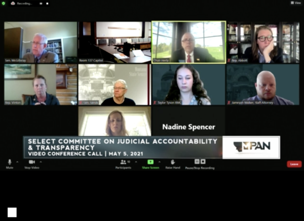 The Montana Select Committee on Judicial Accountability and Transparency considers draft reports regarding an investigation into the judiciary branch May 5, 2021.