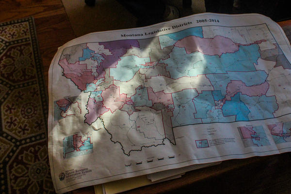 """Joe Lamson, a Democrat on Montana's districting commission, is particularly fond of this map showing the state's legislative districts as drawn in the early 2000s. Lamson says Montana historian Harry Fritz called it, """"The best map drawn in Montana since Lewis and Clark came through."""""""
