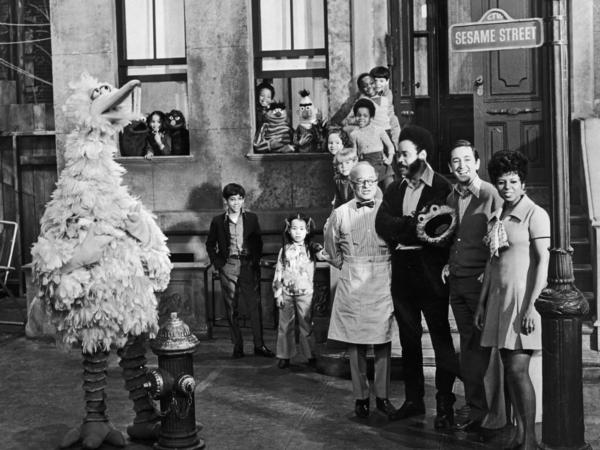 Cast members of the television show, <em>Sesame Street</em> on the set in 1969, the year the show debuted.