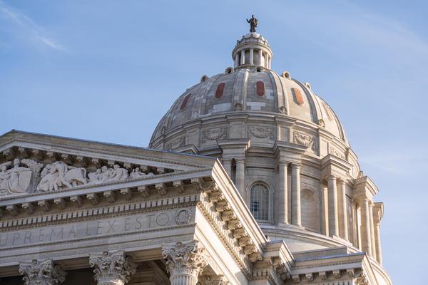The Missouri State Capitol building located in Jefferson City, Missouri.