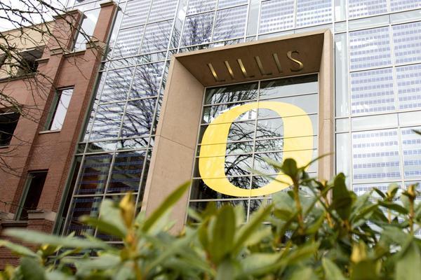 The University of Oregon's business school on Dec. 1, 2019.