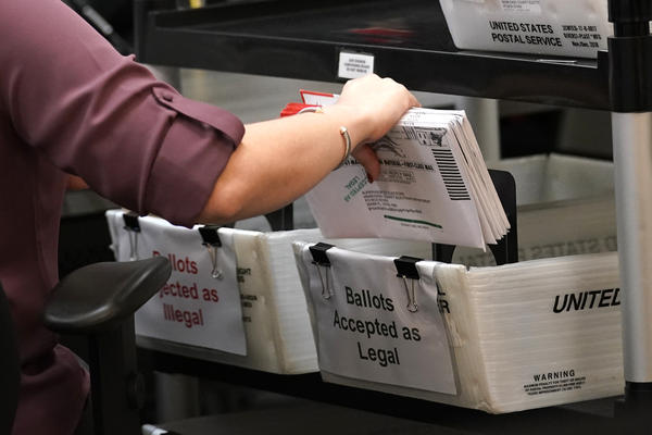 """In this Oct. 26, 2020, file photo an election worker sorts vote-by-mail ballots at the Miami-Dade County Board of Elections in Doral, Fla. Gov. Ron DeSantis on Friday, Feb. 19, 2021, proposed an array of voting changes, while state lawmakers have introduced legislation that makes it harder to vote by mail. To explain the efforts, Florida Republicans point not to evidence of problems but to the potential for voter fraud and suspicion about the process. """"We want everyone to vote, but we don't want anyone to cheat,"""" DeSantis said Friday.  (AP Photo/Lynne Sladky, File)"""