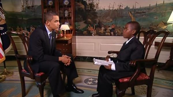 At 11, Damon Weaver interviewed then-President Obama in the Diplomatic Room of the White House. The student focused his interview on education in the U.S. and included a suggestion that school lunches consist of French fries and mangoes every day.