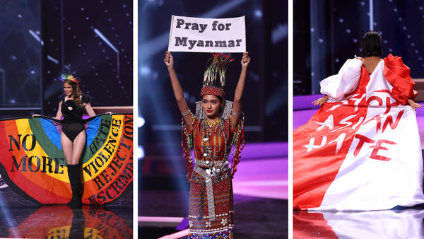 Left to right: Miss Universe Uruguay Lola de los Santos, Miss Universe Myanmar Ma Thuzar Wint Lwin and Miss Universe Bernadette Belle Ong during the National Costume segment of Miss Universe 2021