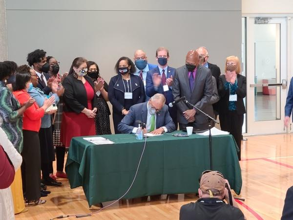 Gov. Jay Inslee signed into law a suite of police accountability bills Tuesday at a bill signing ceremony in Tacoma.