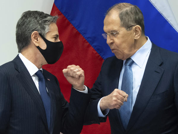 U.S. Secretary of State Antony Blinken (left) greets Russian Foreign Minister Sergey Lavrov as they arrive for a meeting at the Harpa Concert Hall in Reykjavik, Iceland, on Wednesday.