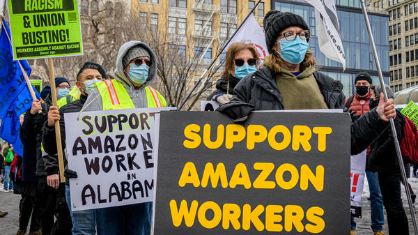 Members of the Workers Assembly Against Racism gather across from an Amazon-owned Whole Foods in New York City as part of a nationwide solidarity event with Amazon workers seeking to unionize in Bessemer, Ala., on Feb. 20.