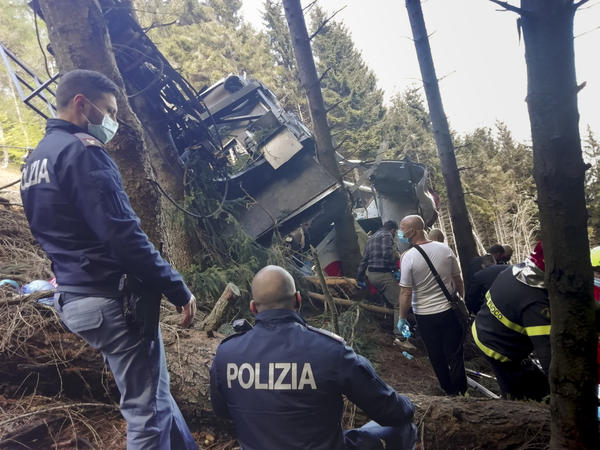 An aerial tramway car fell to the ground Sunday in northern Italy, killing 14 people and leaving a child hospitalized. The cable line appeared to have snapped, but the cause hasn't been determined.
