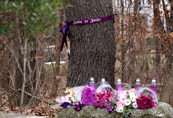A memorial for Jennifer Farber Dulos was created outside the home of Fotis Dulos in January 2020.
