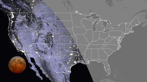 This map shows the visibility of the total lunar eclipse in the contiguous U.S. at 7:11 a.m. Eastern time this Wednesday. The total lunar eclipse will be visible everywhere in the Pacific and Mountain time zones, as well as in Texas, Oklahoma, western Kansas, Hawaii and Alaska.