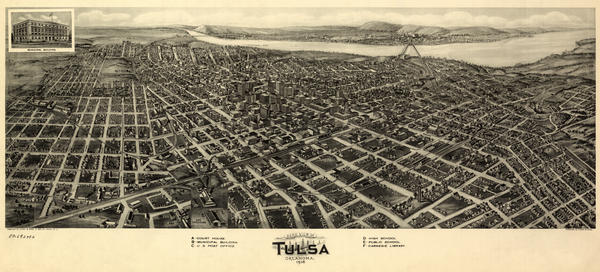 Artist Paul Rucker is creating a new multimedia work to commemorate the 100th anniversary of the Tulsa Race Massacre. That's when a thriving African American community was destroyed in a horrific act of violence that wiped out hundreds of Black-owned businesses and homes. Above, an aerial view of Tulsa, Okla., Fowler & Kelly, 1918.