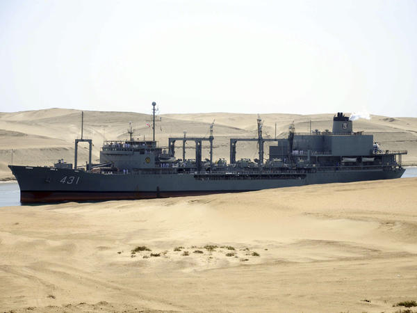 The Iranian navy's replenishment vessel IS Kharg passes through the Suez canal at Ismailia, Egypt, in 2011.
