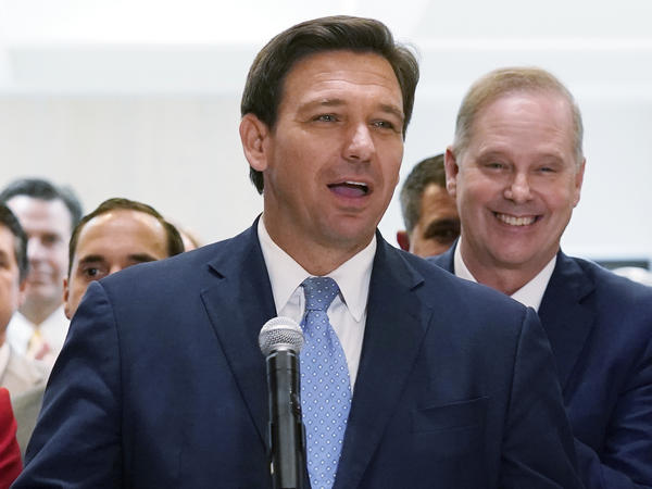 In this April 30, 2021, file photo, Florida Gov.Ron DeSantis speaks at the end of a legislative session at the Capitol in Tallahassee, Fla.