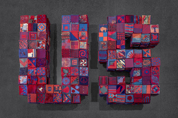 In January 2020, Arizona artist Ann Morton put out a call on social media asking people to create 8 inch by 8 inch textile squares that use equal parts red and blue. The squares and the project as a whole stands for a set of values: respect for the other, citizenship, compromise, country over party and corporate influence, and creativity.
