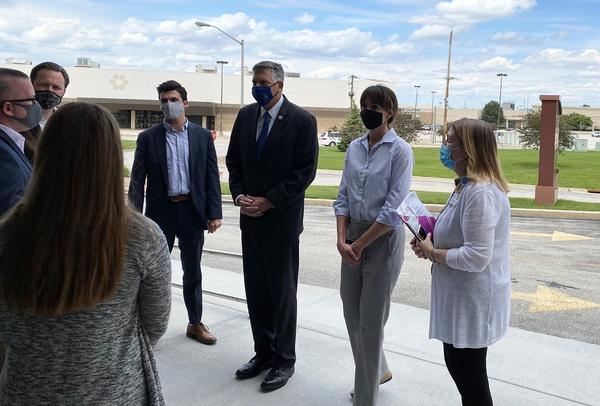 U.S. Rep. Darin LaHood (third from right) met with officials from OSF HealthCare in Bloomington on Tuesday.