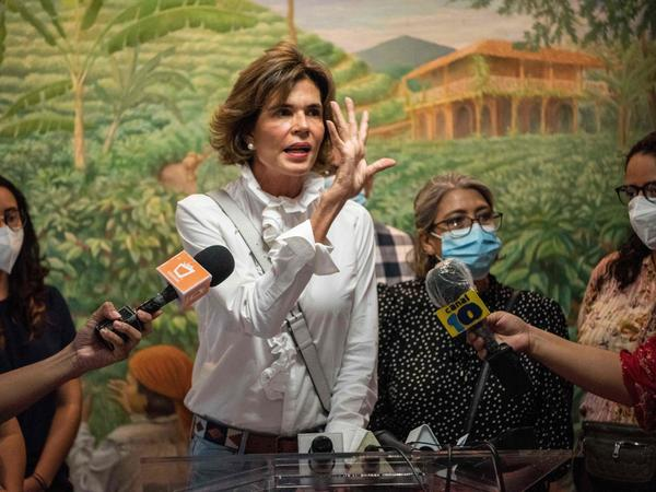 Cristiana Chamorro, pre-presidential candidate, gives a press conference in Nicaragua's capital, Managua, in May after the detention of two of her former employees by the national police and their retention for 90 days for alleged laundering of assets.