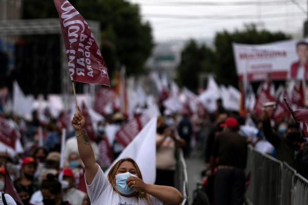Supporters of the Morena party's candidate for governor of Baja California, Marina del Pilar Ávila Olmeda, attend the closing campaign rally in Tijuana, Baja California, Mexico, on Wednesday.