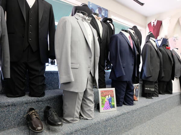 After an off year, tuxedos wait for their big night out at Suits in Style in Dover, New Hampshire.