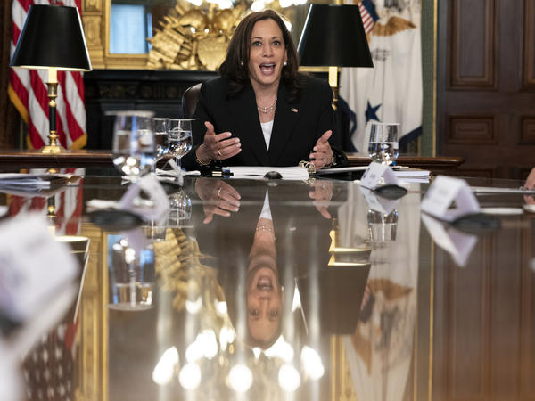 Vice President Harris attends a meeting with CEOs about economic development in the Northern Triangle on May 27. She plans to meet with entrepreneurs on her trip to the region this week.