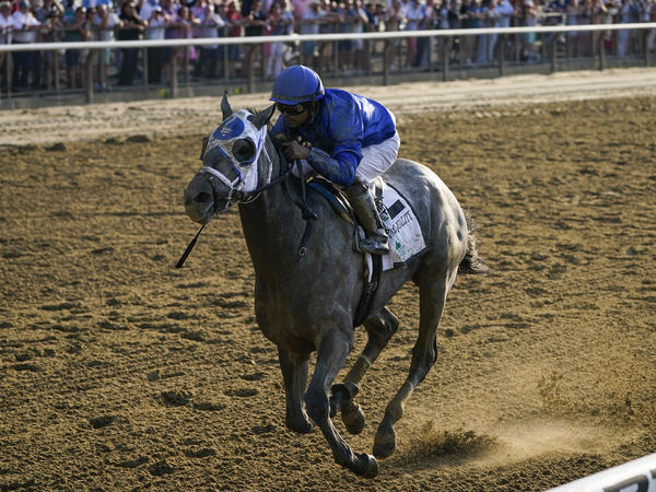 Essential Quality, with jockey Luis Saez, crosses the finish line to win the 153rd running of the Belmont Stakes horse race on Saturday at Belmont Park in Elmont, N.Y.